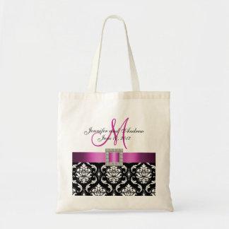 Damasco cor-de-rosa, preto sacola Wedding personal Bolsas Para Compras