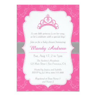 Damasco cor-de-rosa, princesa Coroa, chá de Convite 11.30 X 15.87cm