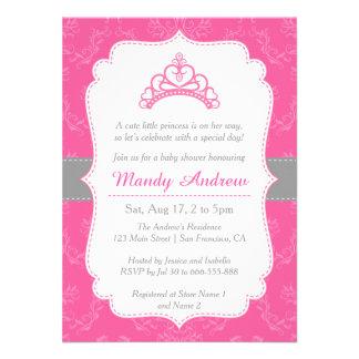 Damasco cor-de-rosa princesa Coroa chá de fralda