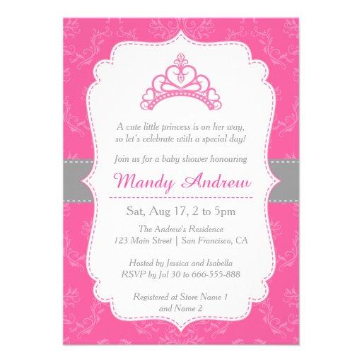 Damasco cor-de-rosa, princesa Coroa, chá de fralda Convites Personalizados