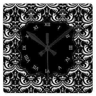 Damasco corajoso grande (branco) relógio quadrado