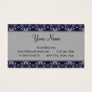 Damasco de prata no azul com listras e monograma cartão de visitas