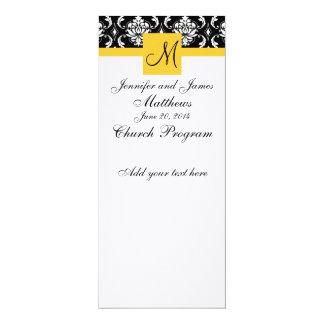 Damasco do branco do preto do monograma do convite 10.16 x 23.49cm