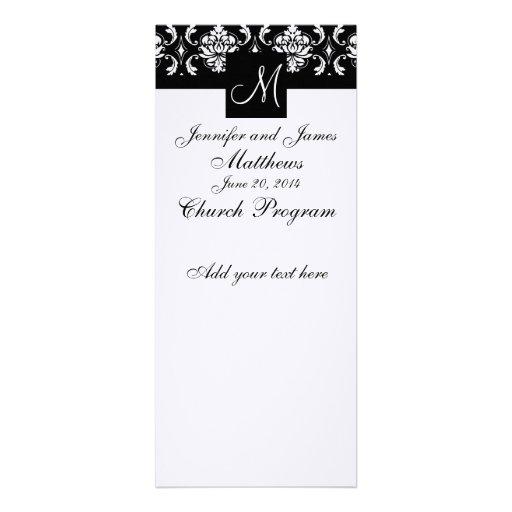 Damasco do branco do preto do monograma do program convites personalizados