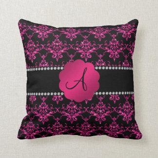 Damasco do brilho do rosa do monograma travesseiros de decoração