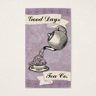 Damasco do bule do vintage do chá do chique cartão de visitas