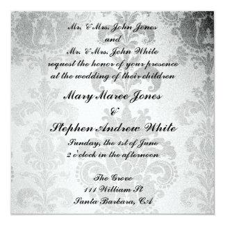 Damasco do clássico do convite do casamento