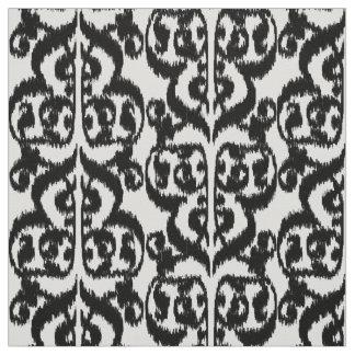 Damasco do Moorish de Ikat - preto e branco Tecido