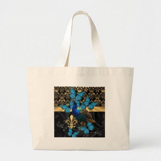 Damasco do pavão & do ouro bolsas de lona
