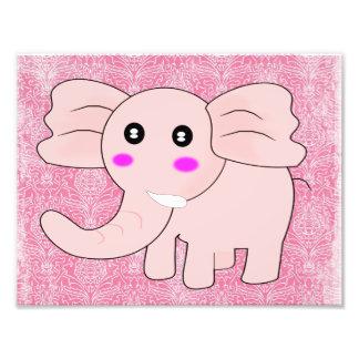 Damasco do rosa do elefante do bebê impressão de foto