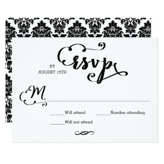 Damasco do roteiro do casamento - cartão de RSVP