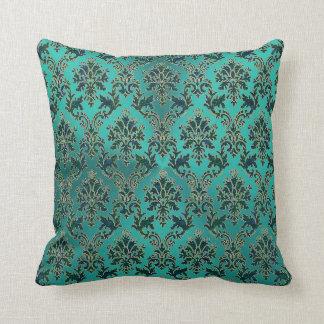 Damasco do verde azul da cerceta no travesseiro almofada