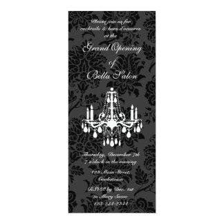 Damasco do Victorian da grande inauguração (preto) Convite 10.16 X 23.49cm
