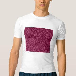 damasco do vintage, vermelho camiseta