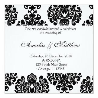 Damasco elegante do casamento convite