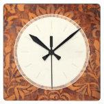 Damasco elegante do couro da antiguidade do renasc relógios para paredes