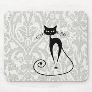Damasco elegante do gato preto mouse pad