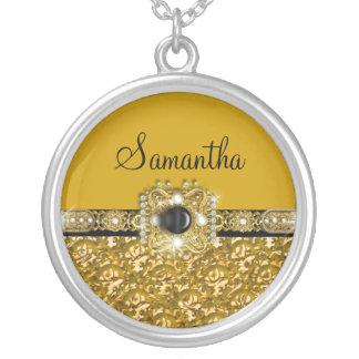 Damasco elegante do ouro brilhante bijuterias