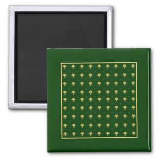 Damasco elegante do verde e do ouro ímã quadrado