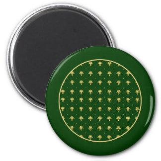 Damasco elegante do verde e do ouro ímã redondo 5.08cm