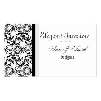 Damasco elegante elegante branco preto floral cartão de visita