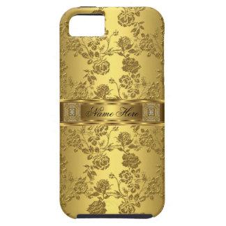 damasco elegante elegante do ouro do falso do capas para iPhone 5