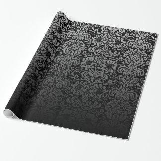 Damasco elegante (preto e prata) papel de presente