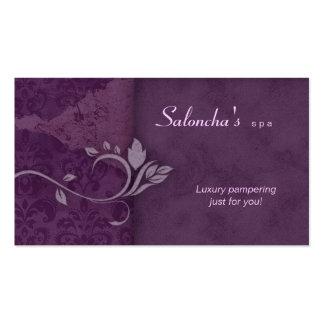 Damasco envelhecido roxo do cartão de visita dos t