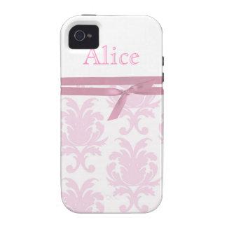 Damasco feminino do rosa do vintage e capa de ipho capinhas iPhone 4/4S