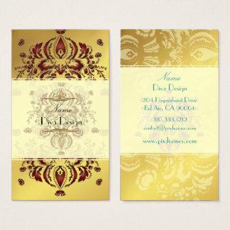 Damasco floral carmesim do cartão de visita no