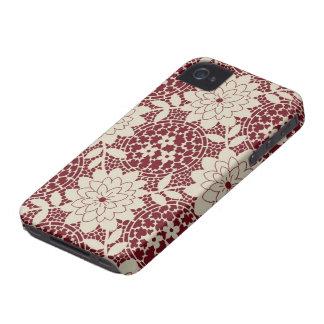damasco floral da estrutura do creme de Borgonha Capa Para iPhone