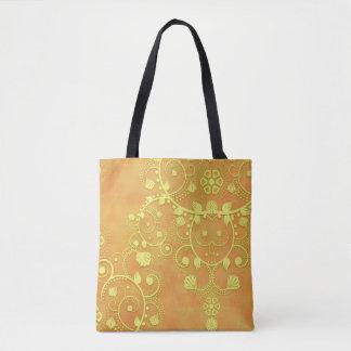 Damasco floral do rico da laranja do ouro amarelo bolsas tote