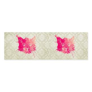 Damasco floral do vintage cor-de-rosa do vetor do cartão de visita skinny