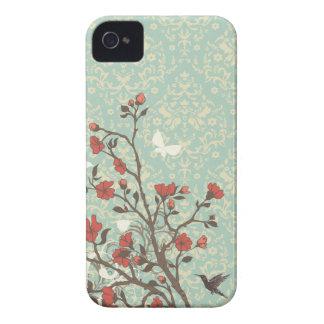 Damasco floral dos redemoinhos do vintage + capa capas para iPhone 4 Case-Mate