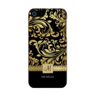 Damasco floral elegante do preto e do ouro com capa incipio feather® shine para iPhone 5