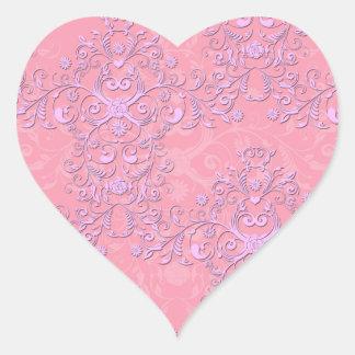 Damasco floral extravagante feminino do rosa e da adesivos em forma de corações