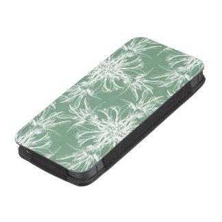 Damasco floral verde e branco da hortelã empoeirad bolsa de celular