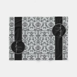 Damasco florentino do vintage (preto) cobertor de velo