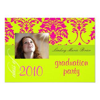 Damasco fluorescente/rosa quente/limão convites personalizados