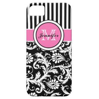 Damasco listrado cor-de-rosa, preto, branco capa para iPhone 5