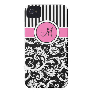 Damasco listrado cor-de-rosa, preto, branco capas para iPhone 4 Case-Mate