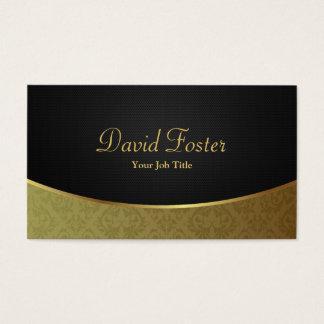 Damasco luxuoso elegante do preto e do ouro cartão de visitas