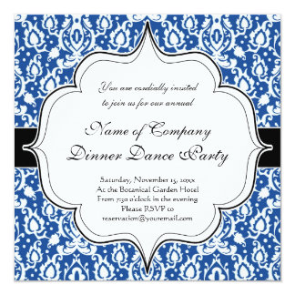 Damasco marroquino azul e branco convite quadrado 13.35 x 13.35cm