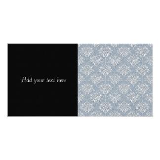 Damasco médio do cinza azul e do branco cartão com foto