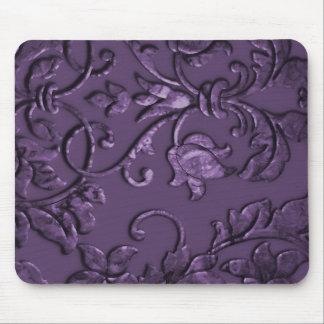 Damasco metálico gravado, roxo mouse pad