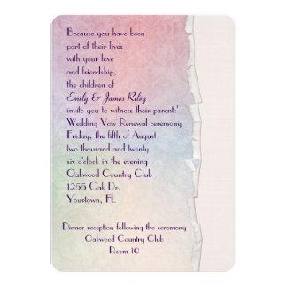 Damasco Pastel com borda rasgada Convite 12.7 X 17.78cm