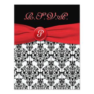 Damasco preto com o cartão vermelho da papoila convite 10.79 x 13.97cm