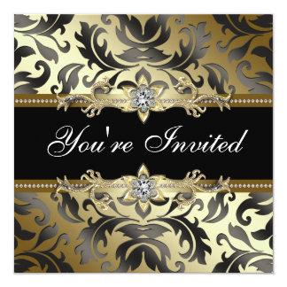 Damasco preto do ouro todos os convites de festas