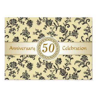 Damasco preto dourado, 50th aniversário de convite 12.7 x 17.78cm