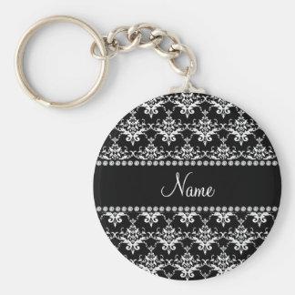 Damasco preto e branco conhecido personalizado chaveiro